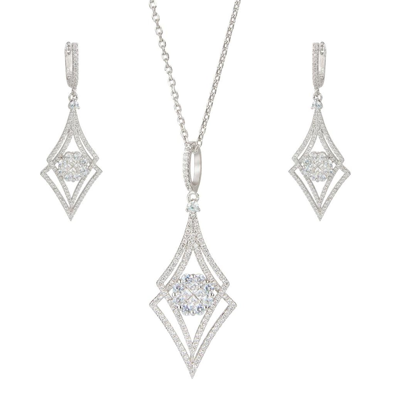 EVER FAITH® Silver-Tone Zircon Elegant Double Rhombus Shaped Pendant Necklace Earrings Set Clear