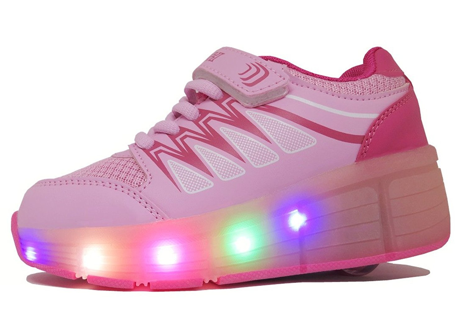 Amazon.com | FanGoods PU Light Up Flashing Wheeled Heel Skate Shoes Led Roller Sneakers Pink (US Size 13---Toe-heel(cm) 19.1) | Skateboarding