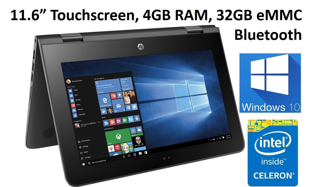 "2017 Newest HP X360 11.6"" Touchscreen 2-in-1 Convertible Laptop PC / Tablet, Intel Celeron N3060, 4GB DDR3L RAM, 32GB eMMC, Bluetooth, USB 3.1, Up to 11 hrs battery life, Windows 10"