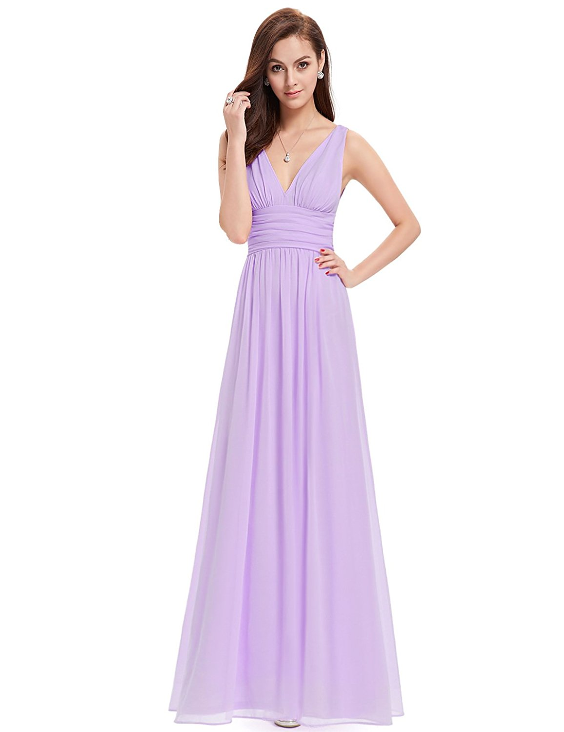 Ever Pretty Womens Double V Neck Sleeveless Chiffon Bridesmaids Dress 6 US Light Purple at Amazon Women's Clothing store