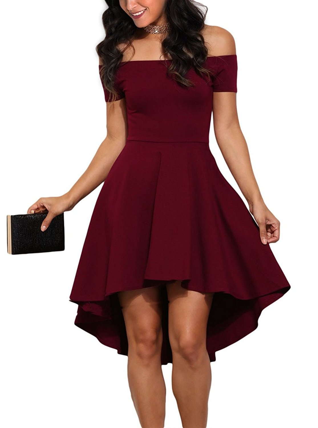 Sidefeel Women Off Shoulder Sleeve High Low Skater Dress Small Wine Red at Amazon Women's Clothing store