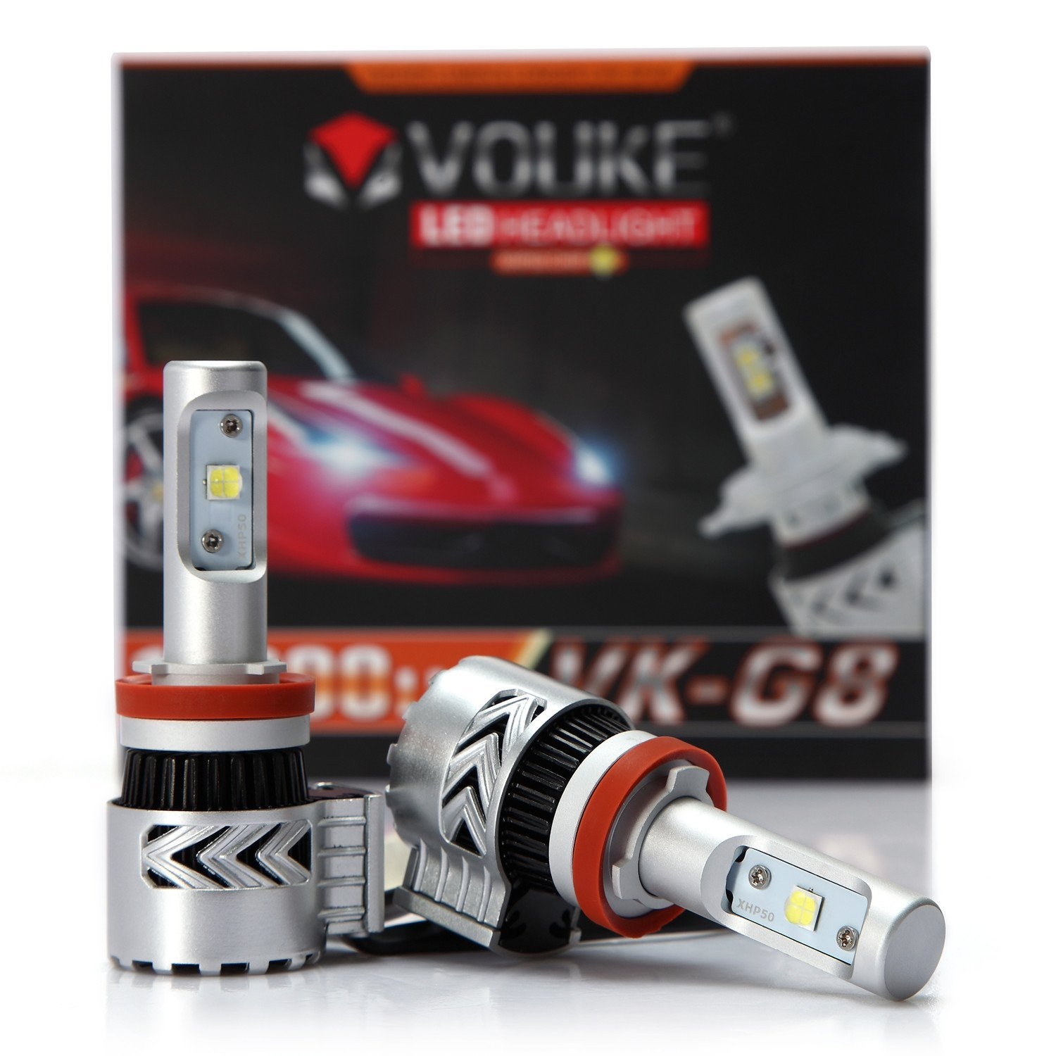 VK-G8 H11 H8 H9 12000LM LED Headlight Conversion Kit, Low Beam Headlamp, Fog Driving Light, HID or Halogen Head light Replacement, 6500K Xenon White, 2pcs- 2 Year Warranty