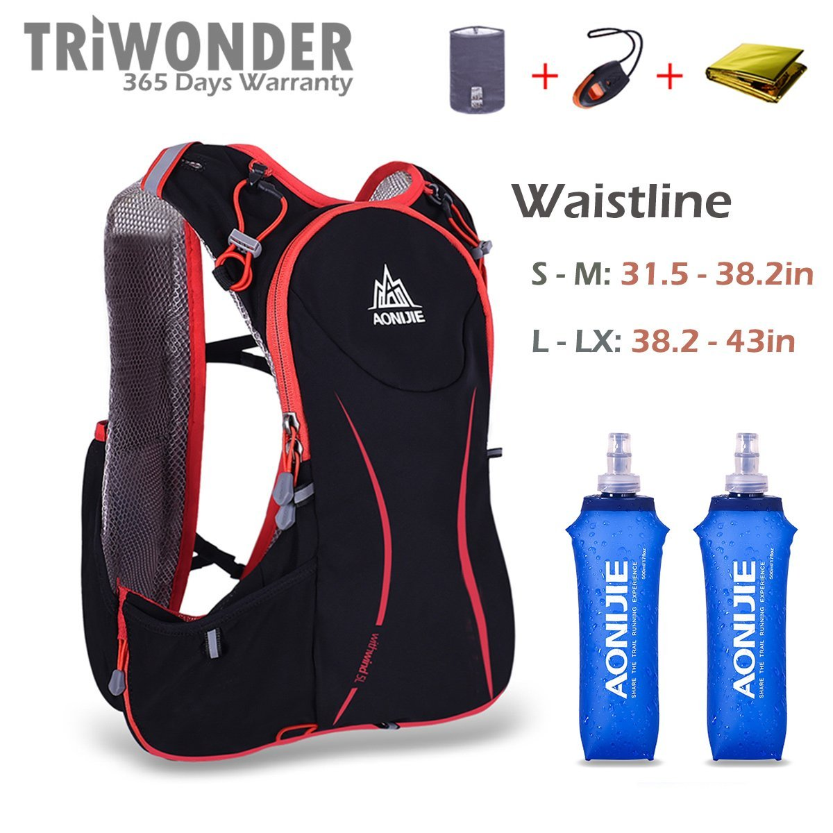 Triwonder 5L Lightweight Deluxe Marathoner Running Race Hydration Vest Hydration Pack Backpack (Black (L-XL) - with 2 Soft Water Bottles)