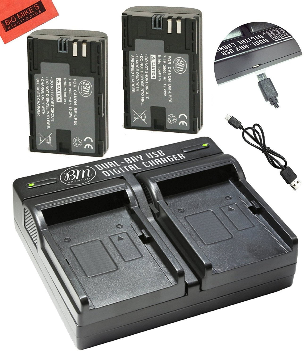 BM Premium 2-Pack of LP-E6, LP-E6N Batteries and Dual USB Battery Charger Kit for Canon C700, XC10, XC15, EOS 60D, EOS 70D, EOS 80D, EOS 5D II, EOS 5D III, EOS 5D IV, EOS 5Ds, EOS 6D, EOS 7D, EOS 7D Mark II Digital SLR Camera