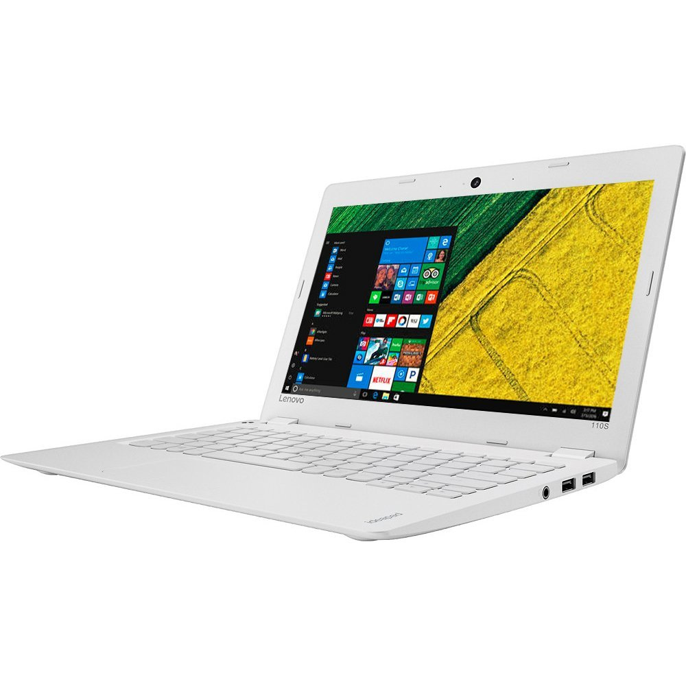 2017 Newest Lenovo 110s Premium Built High Performance 11.6 inch HD Laptop pc Intel Celeron Dual-Core Processor 2GB RAM 32G eMMC Storage Webcam Bluetooth WiFi HDMI 1-Year Office Windows 10-White