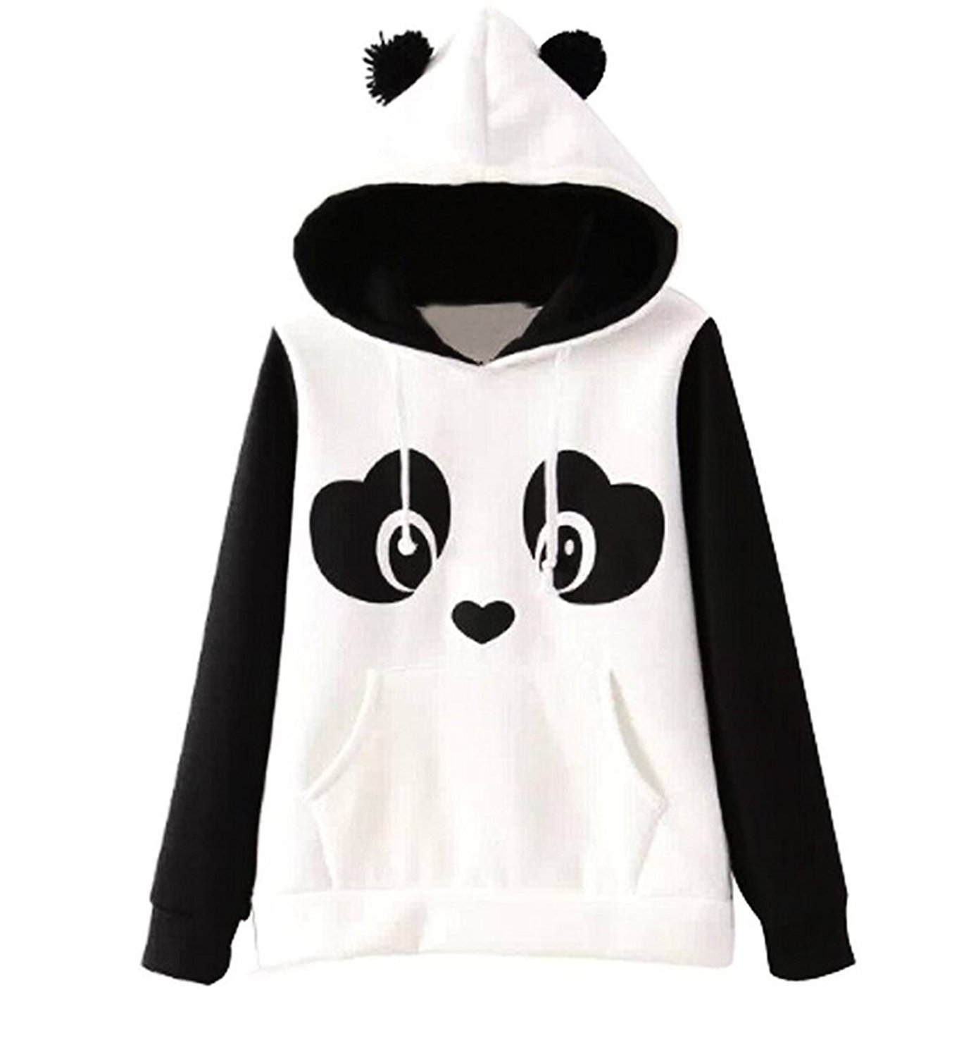 Jubileens Women's Cute Panda Print Fleece Hoodie White and Black Tops Pullover at Amazon Women's Clothing store