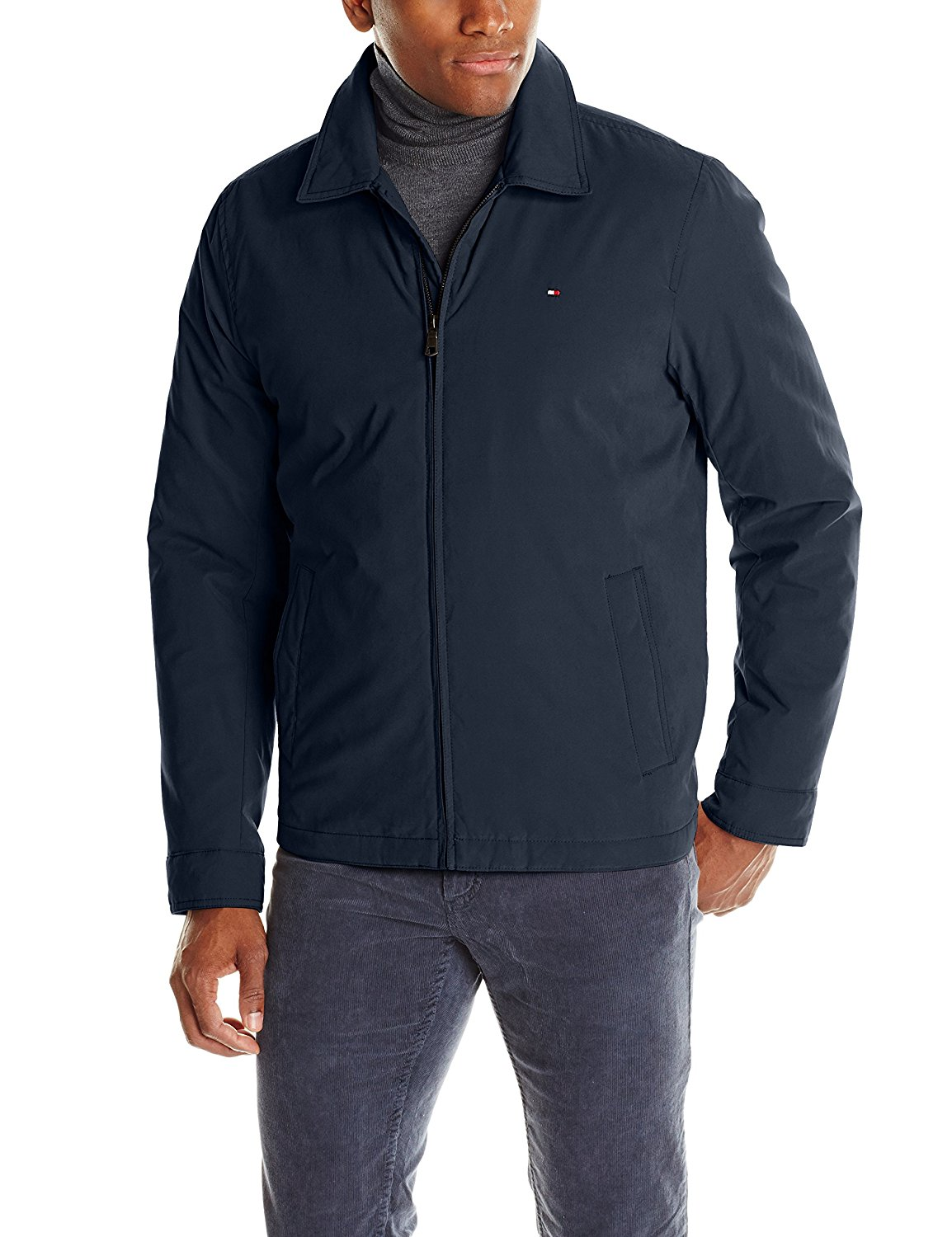 Tommy Hilfiger Men's Micro-Twill Open Bottom Zip Front Jacket, Navy, Small at Amazon Men's Clothing store