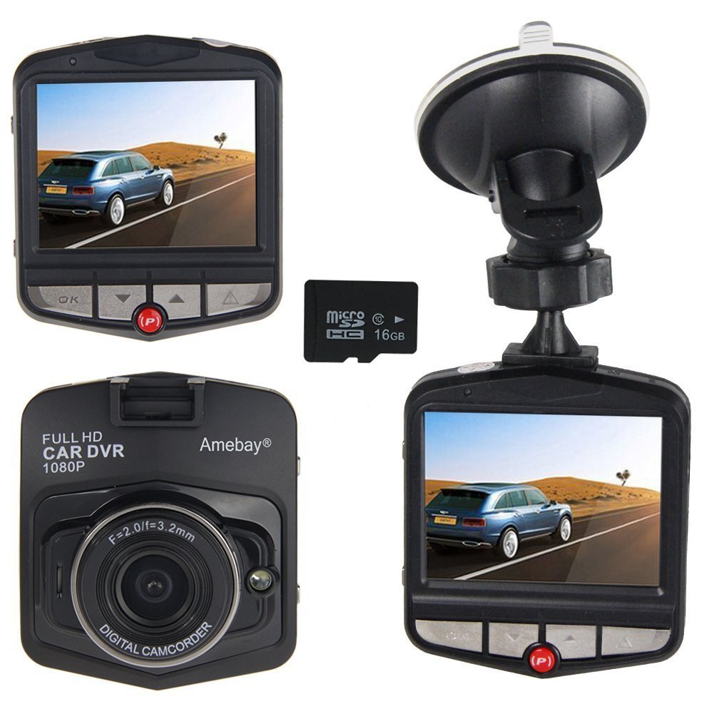 Amebay Dash Cam 2.4'' FHD 1080P Car Vehicle Dashboard DVR Camera Video Recorder with 16GB Micro SD Card,Black