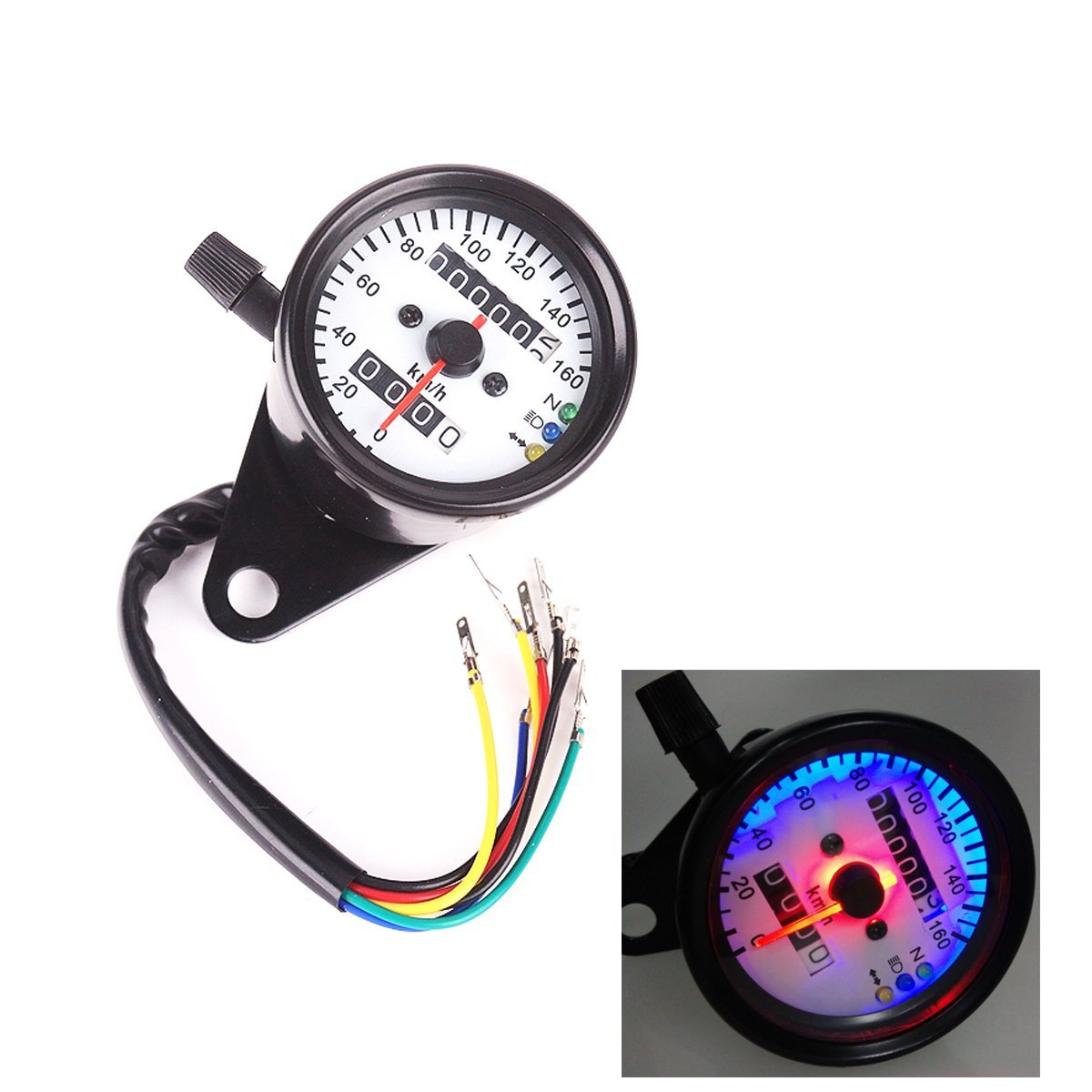 Iztor Universal Motorcycle Dual Odometer Speedometer Gauge 0-160km/h LED Backlight Signal Light Neutral Headlight Indicator white display