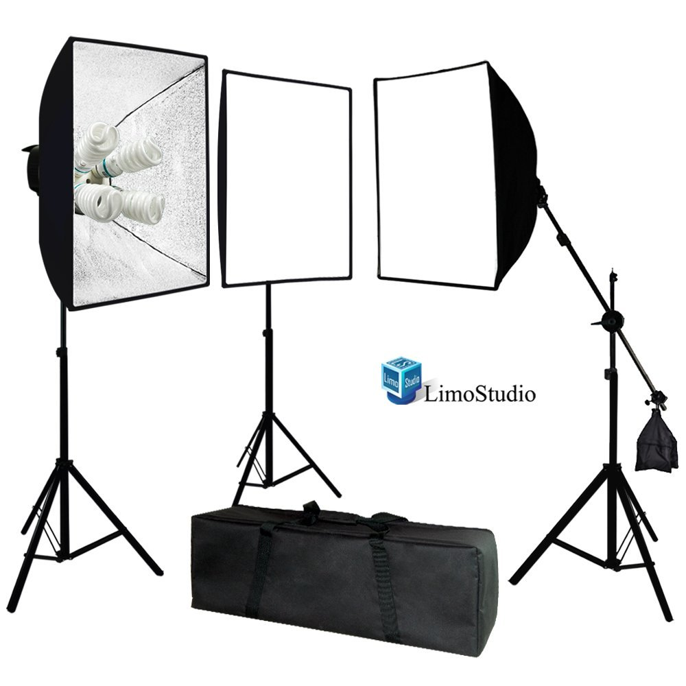 LimoStudio Photo Video Studio 2400 Watt Softbox Continuous Light Kit with Overhead Head Light Boom Kit, AGG891 : Photographic Lighting Soft Boxes