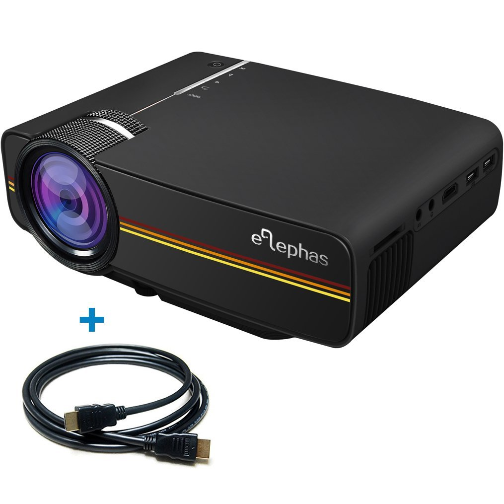 ELEPHAS 1200 Lumens LED Mini Video Projector, Support 1080P Portable Pico Projector Ideal for Home Theater Cinema Movie Entertainment Games Parties, Black