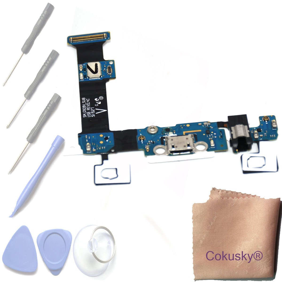 Cokusky USB Charger Charging Port Flex Cable Dock Connector USB with Mic Microphone Repair for Samsung Galaxy S6 Edge Plus (G928V Verizon)