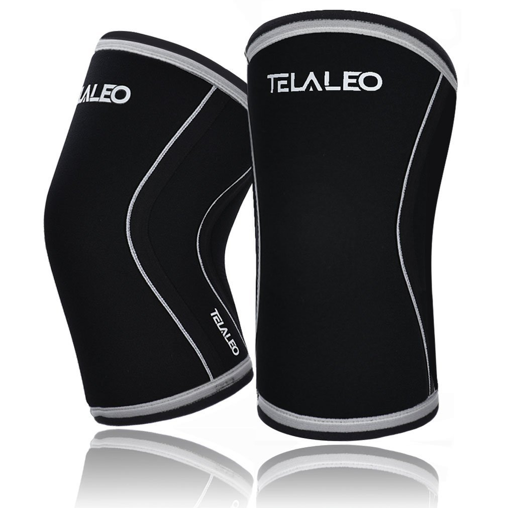 TELALEO Knee Sleeves (1 pair), 7mm Thick Compression Knee Braces Offer Strong Support for Heavy-lifting, CrossFit, Squats, Gym and Other Sports-M