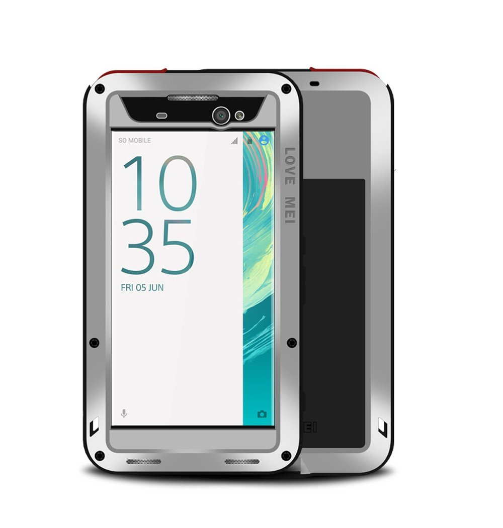 Sony Xperia XA Ultra Case,Mangix Water Resistant Shockproof Aluminum Metal Super Anti Shake Silicone Fully Body Protection With Gorilla Glass Screen Protector for Sony Xperia XA Ultra (Silver)