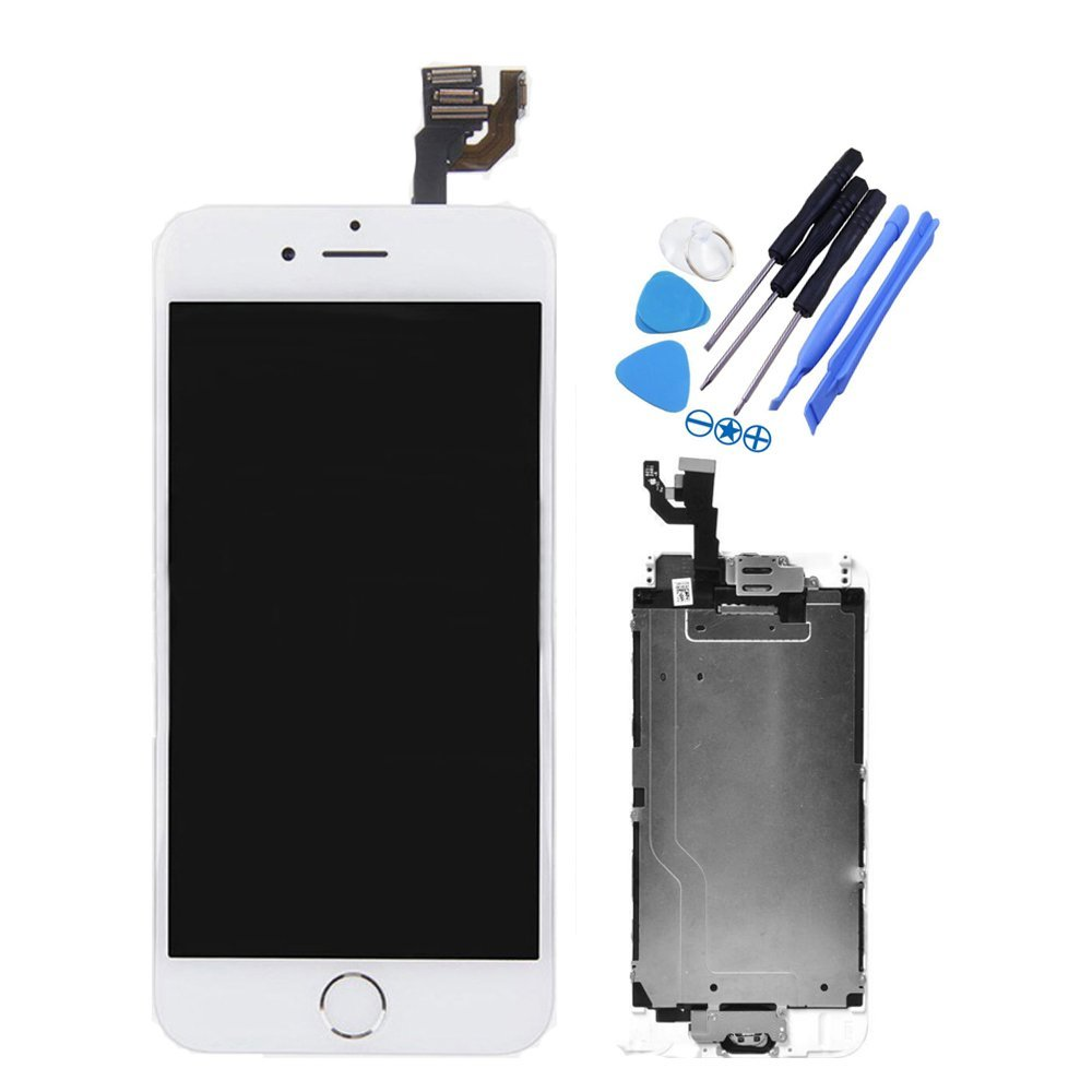 Only for iPhone 6 4.7inch LCD Screen Replacement Touch Digitizer Full Assembly with Home Button, Front Camera, Ear Speaker, Repair Tools,Not compatible with iPhone 6S or 6 Plus, White