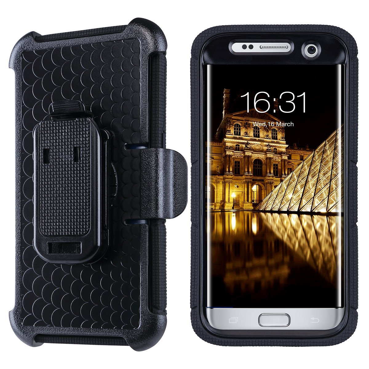 Galaxy S7 Edge Case, ULAK Knox Armor Galaxy S7 Edge Case with Heavy Duty Protection and Built-in Rotating Stand and Belt Swivel Clip for Samsung Galaxy S7 Edge 2016 - Black