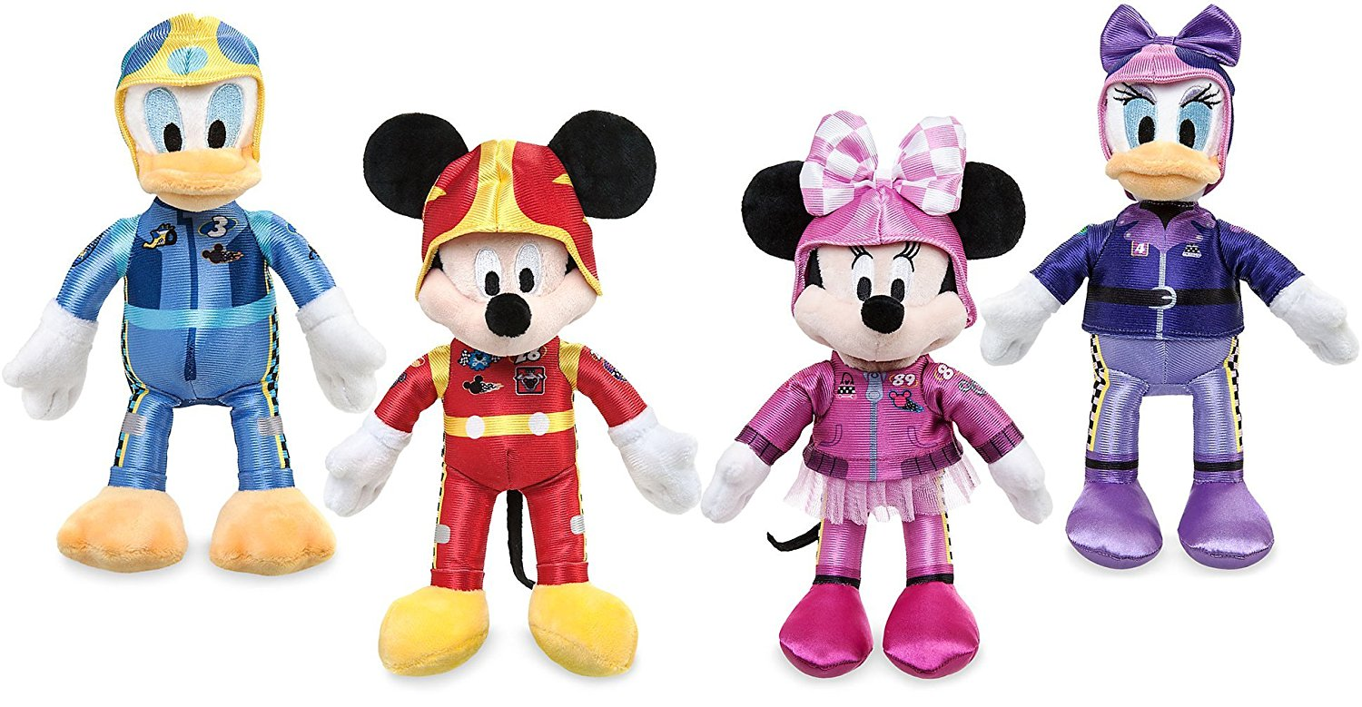 Mickey and the Roadster Racers Cartoon Plush Figure Mickey Mouse-Minnie Mouse-Donald Duck-Daisy Duck Collector Toy Set of 4