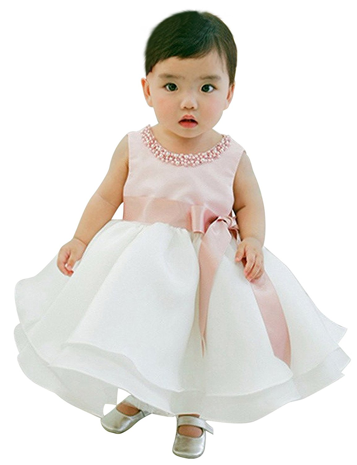 NNJXD Girl Sleeveless Ankle Length Tutu Princess Wedding Pink Dress Size 13-24 Months Pink&White