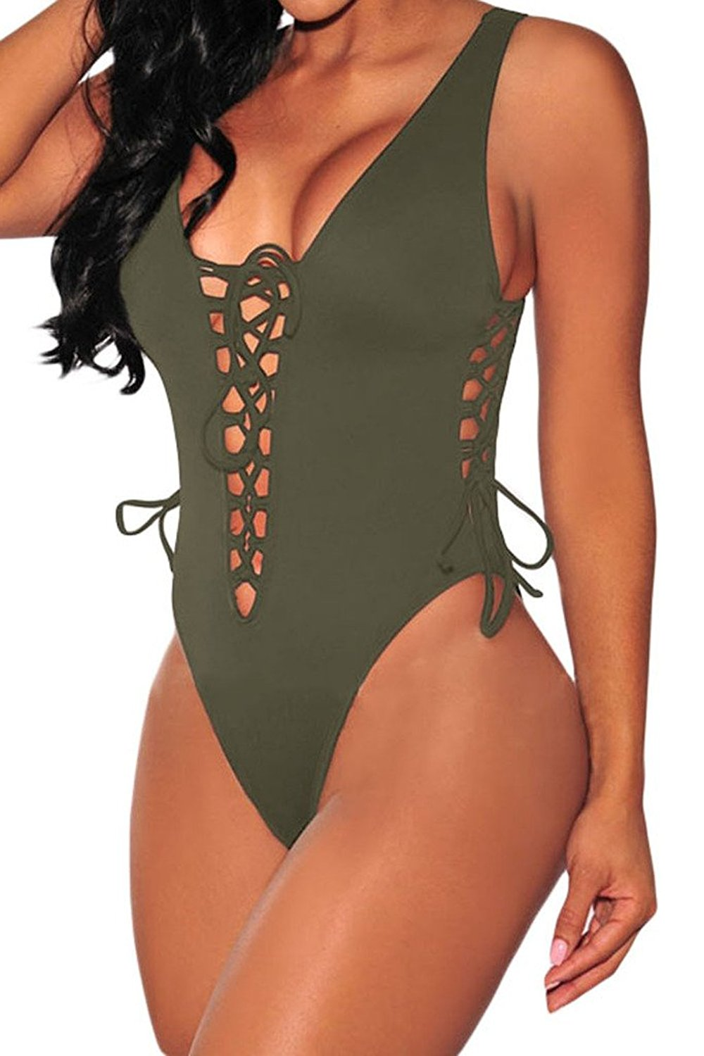 HOTAPEI Women V Neck Lace up High Cut One Piece Swimsuit