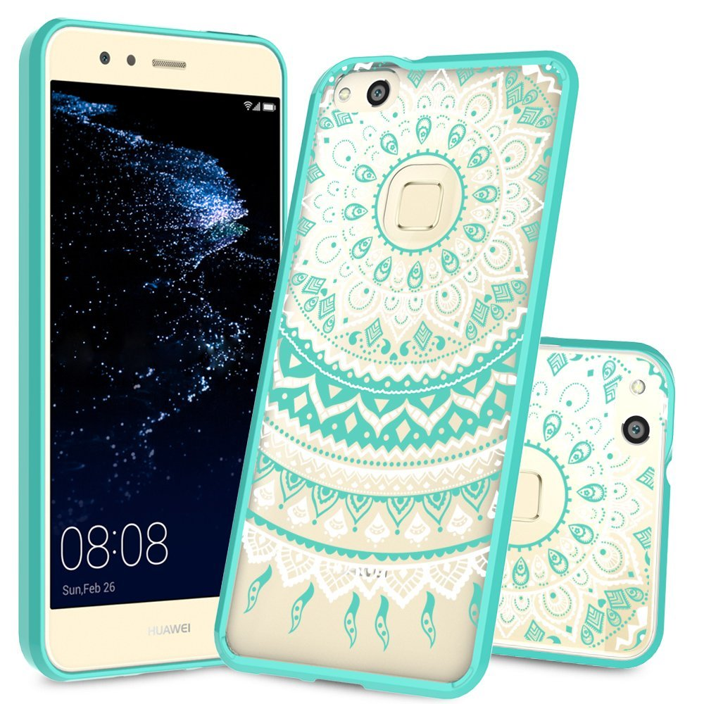 Huawei P10 Lite Clear Case with HD Screen Protector,AnoKe [Scratch Resistant] Mandala Flower Hard Cover With Rubber TPU Bumper Hybrid For Huawei P10 Lite CH TM Mint