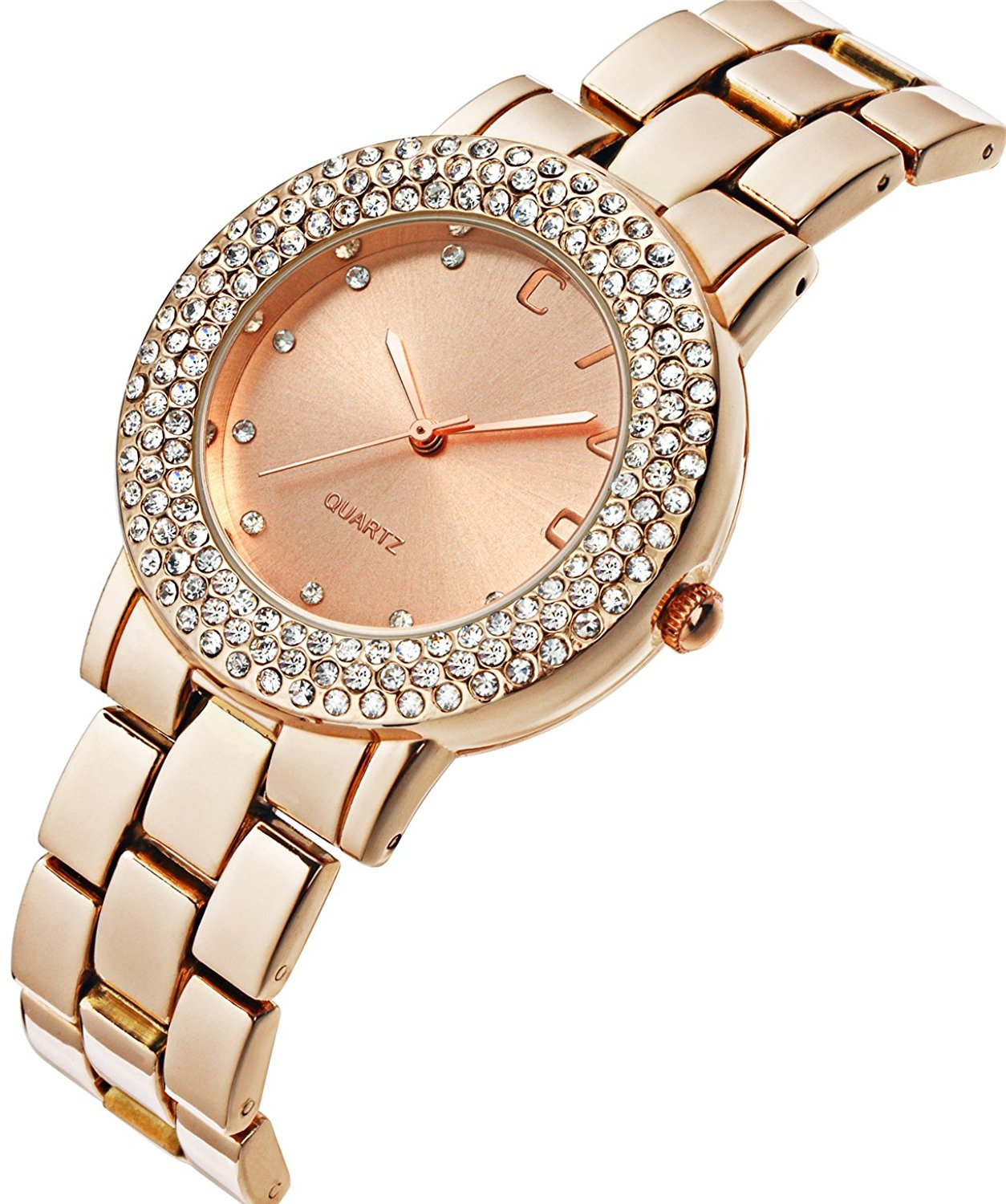 CIVO Women's Rose Golden Stainless Steel Band Wrist Watch Lady Fashion Business Casual Dress Bracelet: CIVO