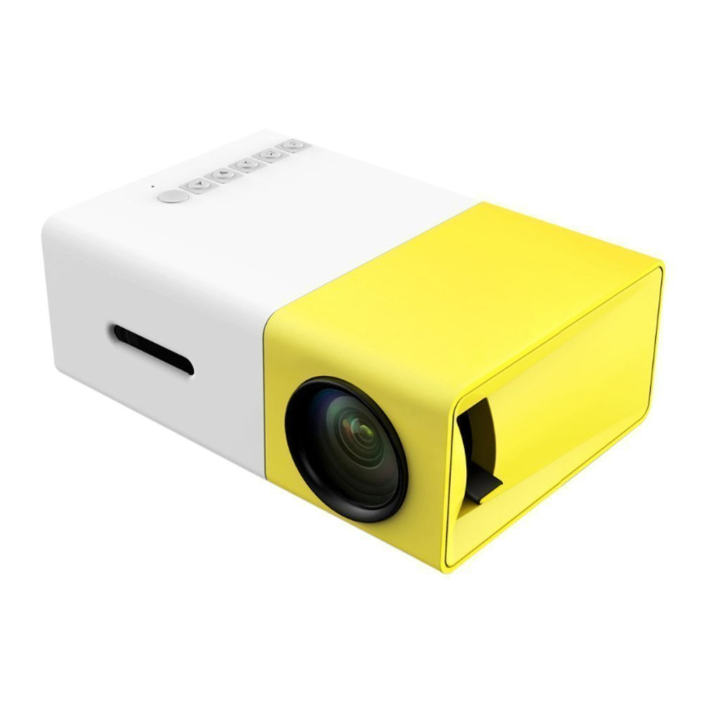 Mini Projector, Portable LED Projector Home Cinema Theater with PC Laptop USB/SD/AV/HDMI Input Pocket Projector for Video Movie Game Home Entertainment Projetor Yellow