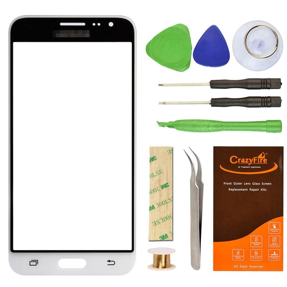 Samsung Galaxy J3 J320F White Replacement Screen Lens Glass Repair Kit CrazyFire Front Outer Screen Glass Replacement with Adhesive Tape Tools Kit 1 Pair Tweezers 1 Roll Micro Wire Screen Separator
