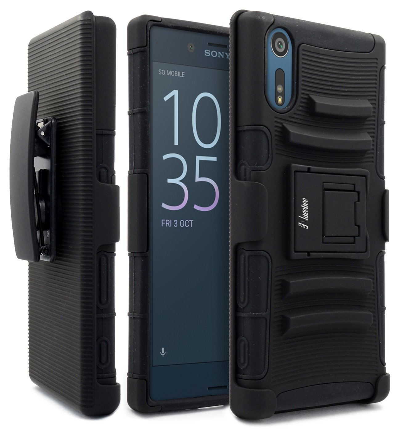 Sony Xperia XZ Case, NageBee [Heavy Duty] Armor Shock Proof Dual Layer [Swivel Belt Clip] Holster with [Kickstand] Combo Rugged Case for Sony Xperia XZ- Black