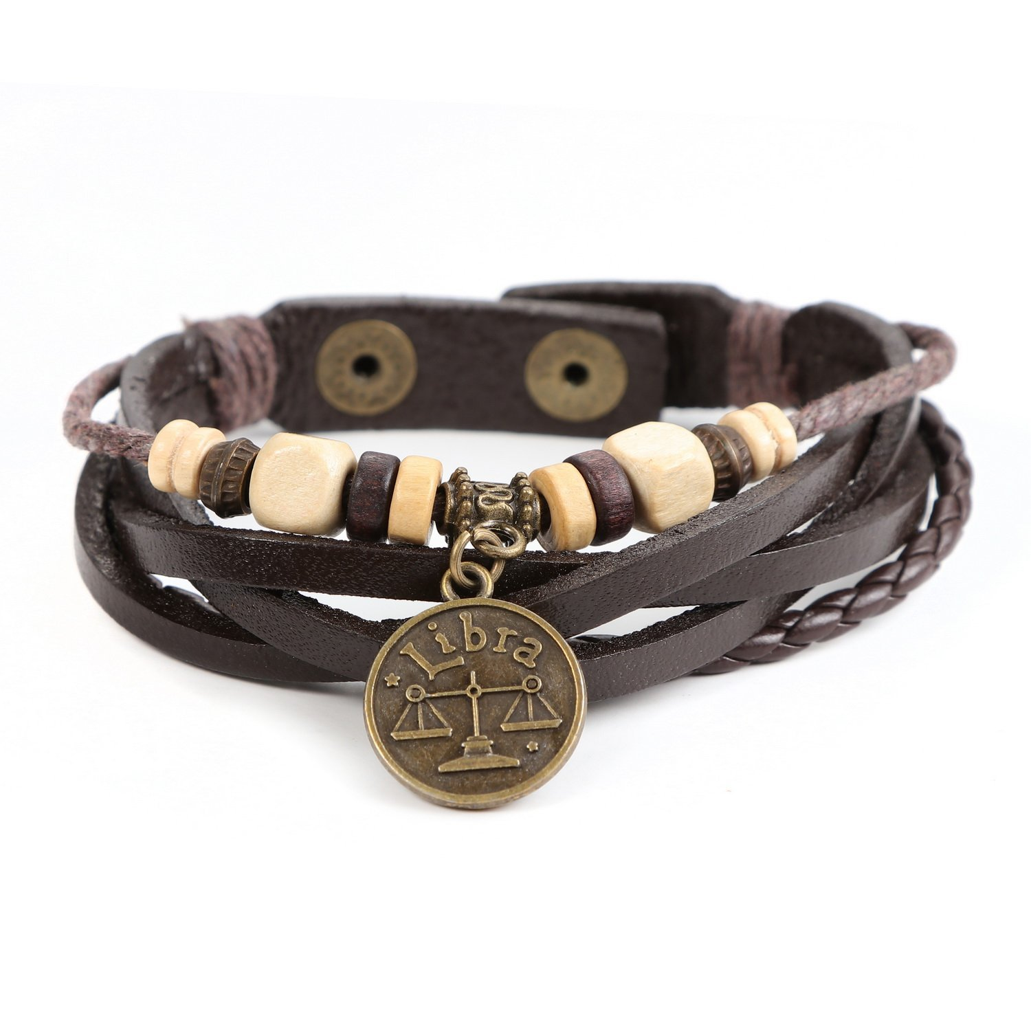 Lucky Handmade Natural Constellation Zodiac Sign Logo Genuine Real Leather Bracelet with Charms, Beads, Button, Adjustable Size, Gift for Him or for Her, Unisex (Libra - Brown Leather): Cuff Bracelets