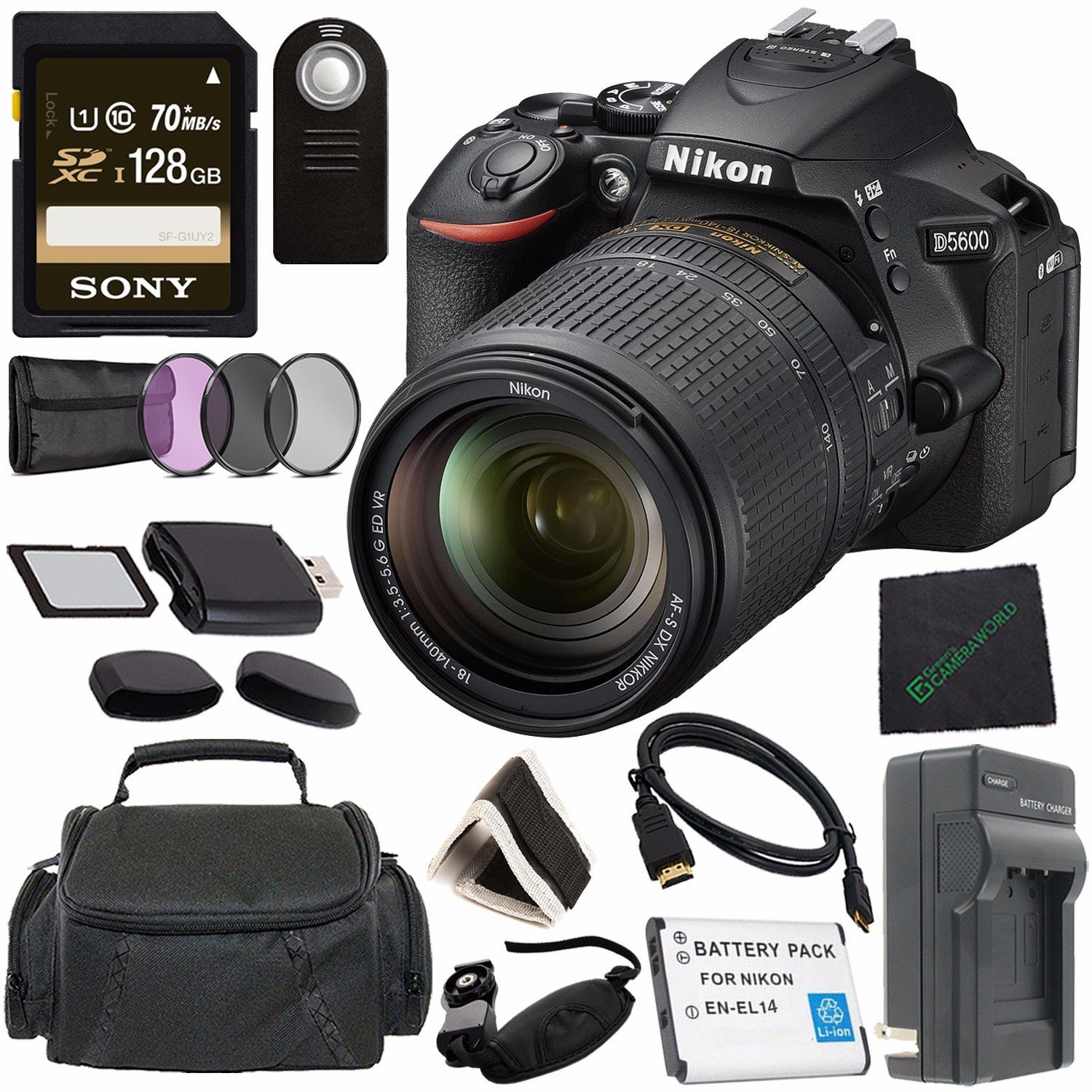 Nikon D5600 DSLR Camera with 18-140mm Lens (Black) 1577 + Lithium Ion Battery + Charger + Sony 32GB SDHC Card + Mini HDMI Cable + Carrying Case + Remote + Memory Card Wallet + Card Reader Bundle