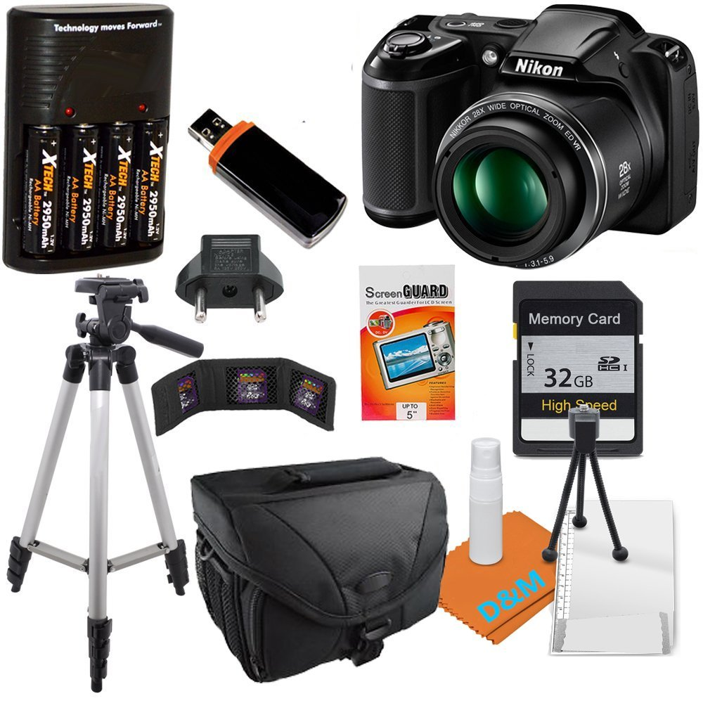 Nikon Coolpix L340 camera with 32GB SD SDHC Class 10 Memory Card, Tripod, Camera Case, Charger and More