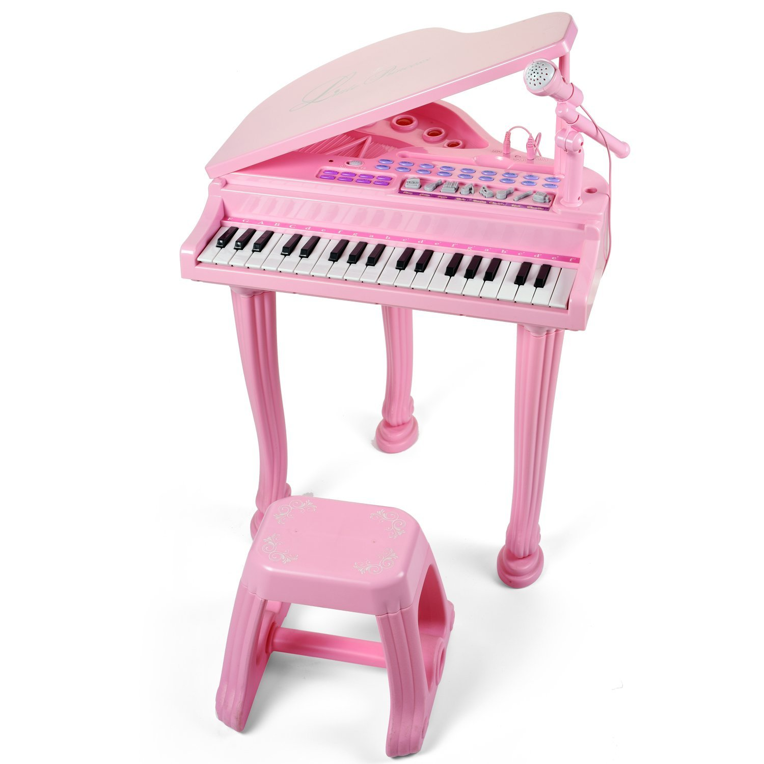 Little Princess Educational 37 Keys Keyboard Kids Toy Piano with Bench and Microphone can Connect MP3 Mobile Phone for Toddlers