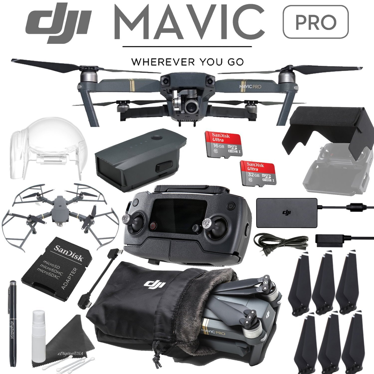 DJI Mavic Pro Quadcopter Drone with 4K Camera 1 Battery Starters Bundle