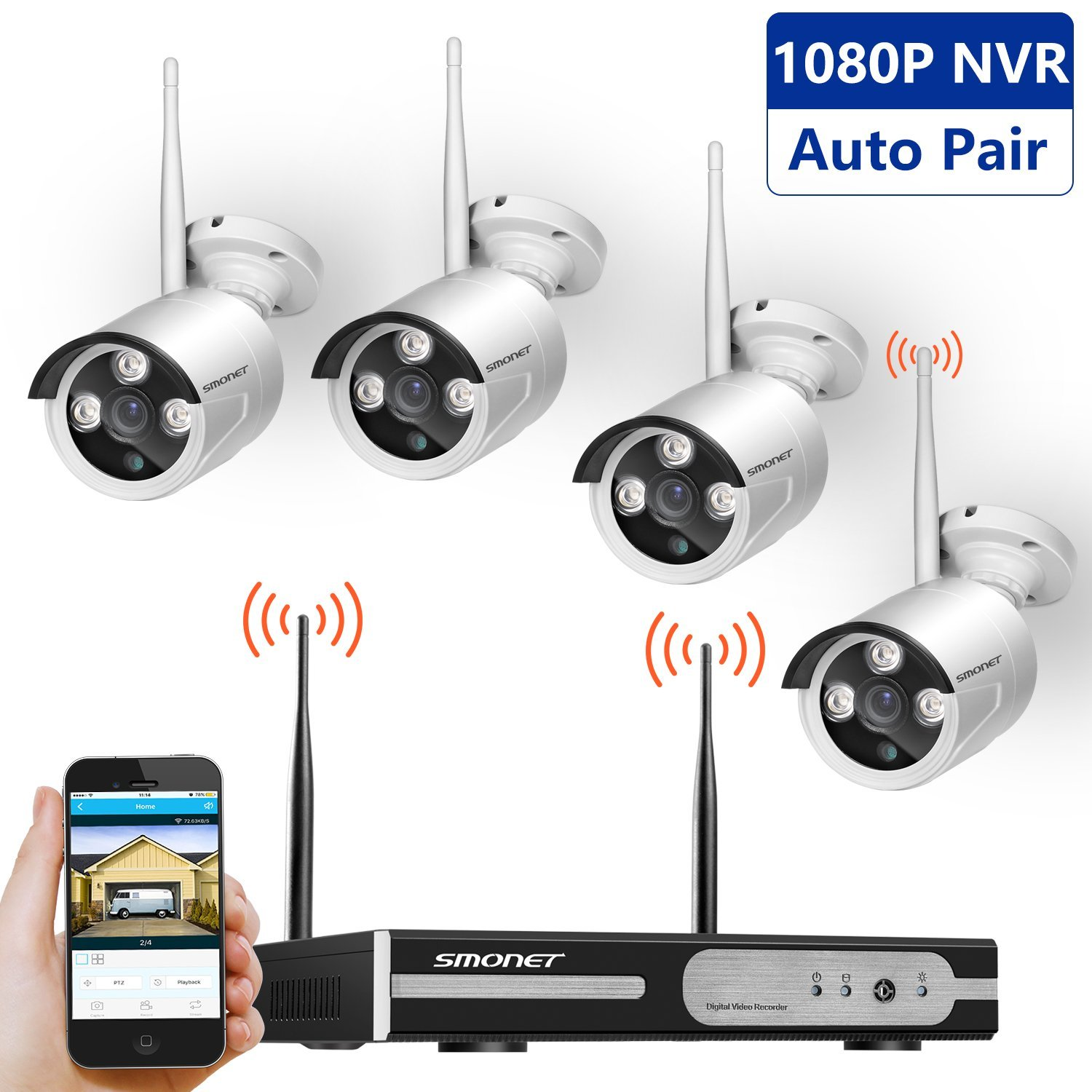 Wireless Security Camera System, SMONET 4CH 1080P Video Security System, 4pcs 720P Bullet IP Cameras, Support Motion Detection Alarm & Remote View by IOS or Android App, No Hard Drive