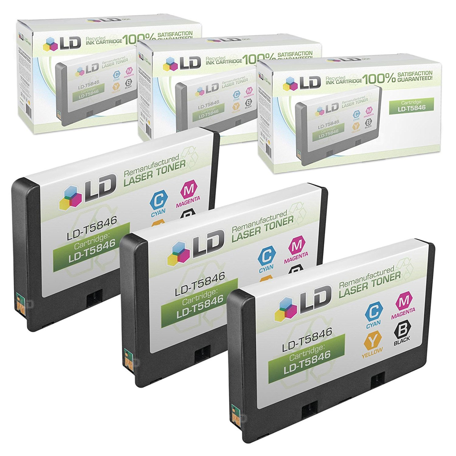 LD © Remanufactured T5846 Set of 3 Photo Color Ink Cartridges for use in PictureMate Dash PM 260, Pal PM 200, Snap PM 240, Charm PM 225, Flash PM 280, Show PM 300 and Zoom PM 290