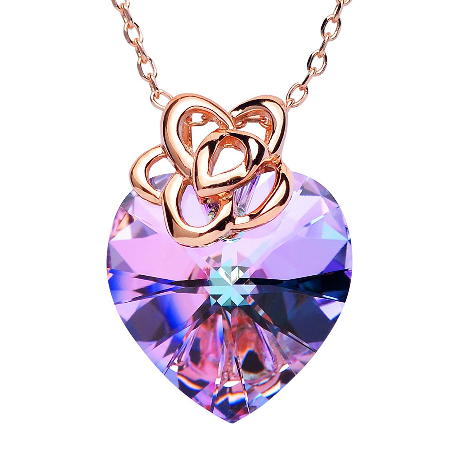 "SWEETV ""Endless Love"" Purple Heart Swarovski Crystal Pendant Necklace with Rose Gold Chains Jewelry Gift for Women, 16""+2"""