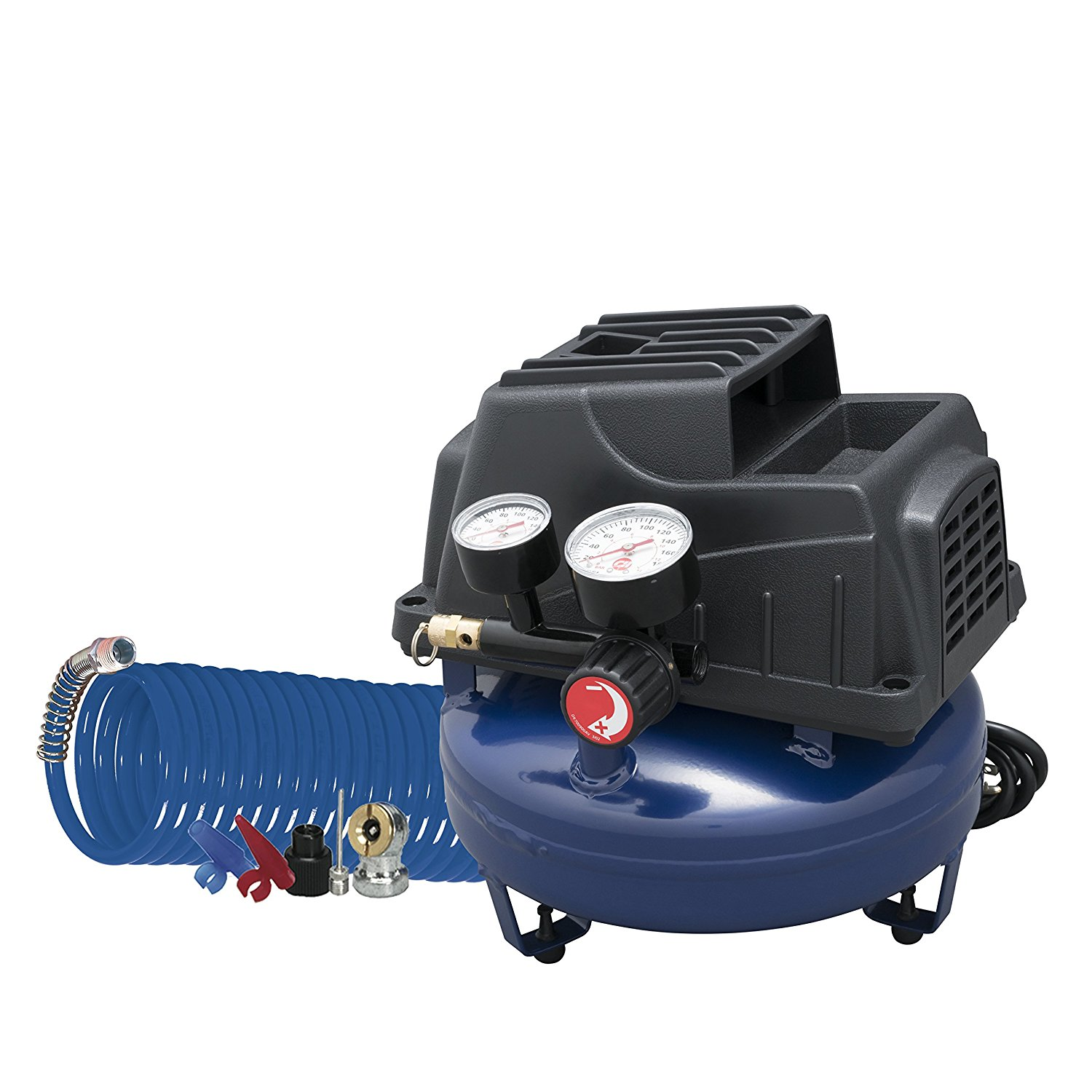 Air Compressor, 1 Gallon, Pancake, Oilless Pump, 110 PSI w/ Recoil Air Hose & Inflation Kit (Campbell Hausfeld FP2028) - Pancake Tank Air Compressors - Amazon.com