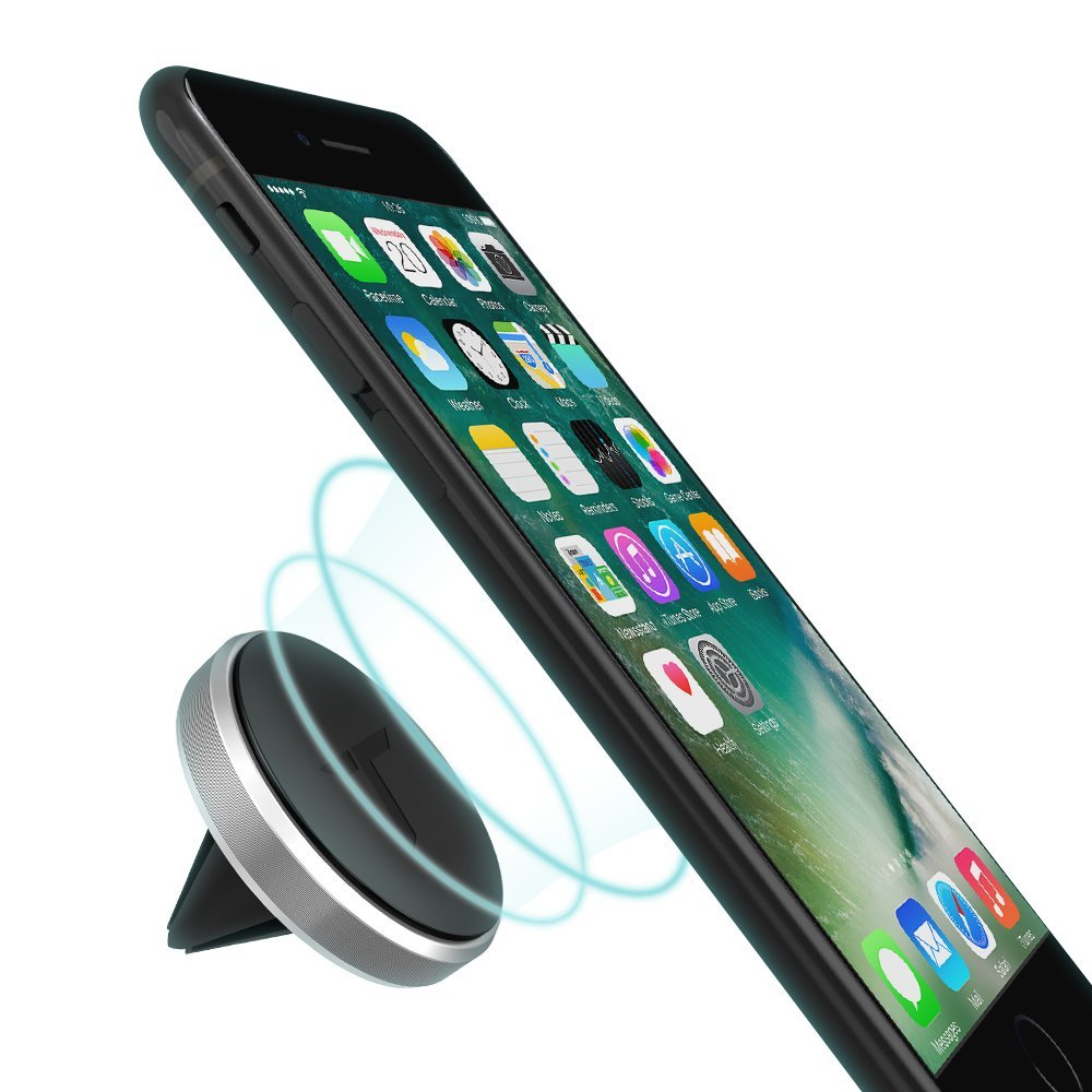 Trianium Magnetic Car mount for Cell Phone, Universal Air Vent Holder [Aluminum Frame] for iPhone 8 7s 7 6s 6 Plus,SE 5s 5c 5,Galaxy S8 S7 S6 Edge,Note 8,Pixel 2 XL, Nexus 6p,5X,LG G6 G5,HTC -Silver
