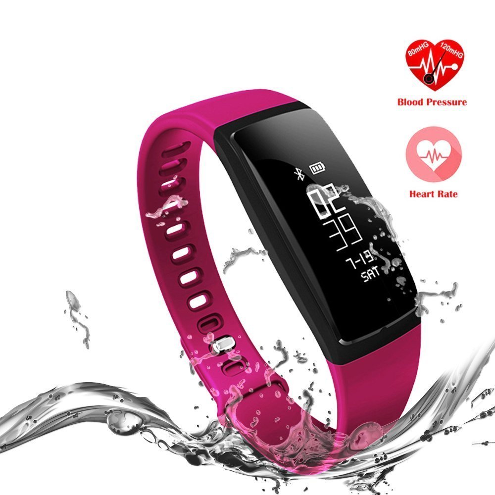 Fitness Tracker, Heart Rate Bracelet Blood Pressure Smart Watch Bands Sleep Monitor Multifunctional Wireless Sport Activity Healthy Wristband with OLED Touch for Apple Iphone and Android Phone Purple