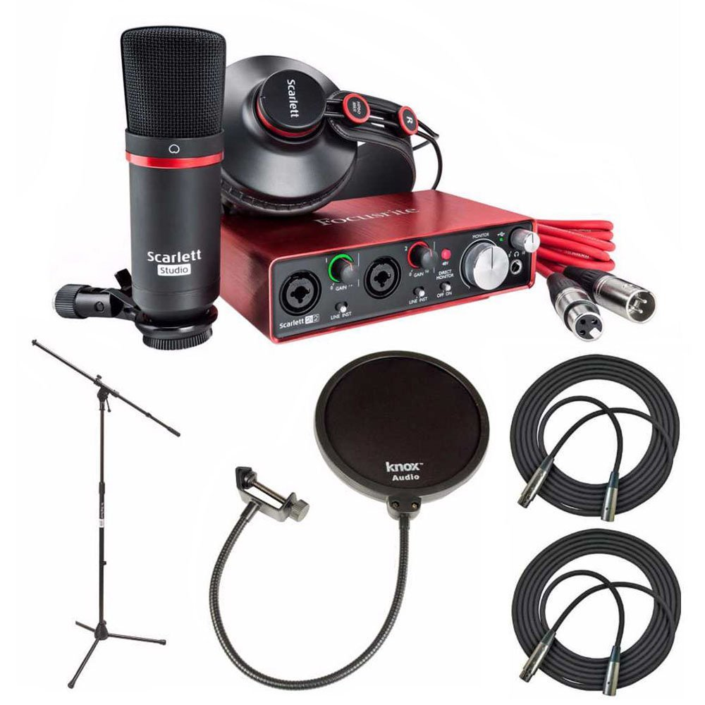 Focusrite Scarlett 2i2 Studio Pack & Recording Bundle - 2nd Gen w/ Pro Tools, Includes,Universal Pop Filter Microphone Wind Screen,10 Premier Series XLR Male-XLR Female 16AWG Cable & Mic Stand
