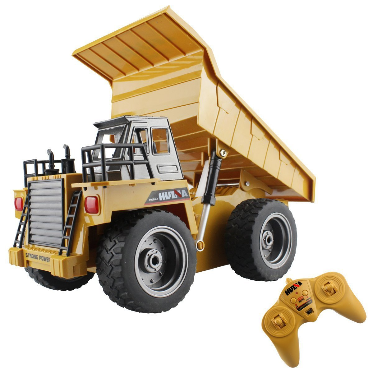 6 Ch 2.4G Alloy Remote Control Dump Truck 4 Wheel Driver Mine Construction Vehicle Toy Machine Model with LED Light