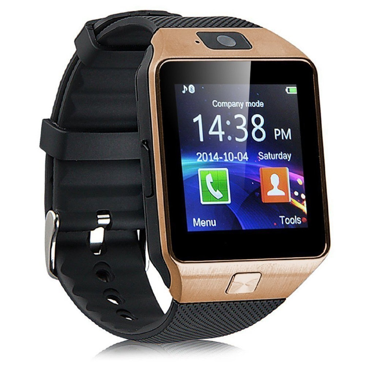 Padgene DZ09 Bluetooth Smart Watch with Camera for Samsung S5 / Note 2 / 3 / 4, Nexus 6, Htc, Sony and Other Android Smartphones, Gold (Black Band)