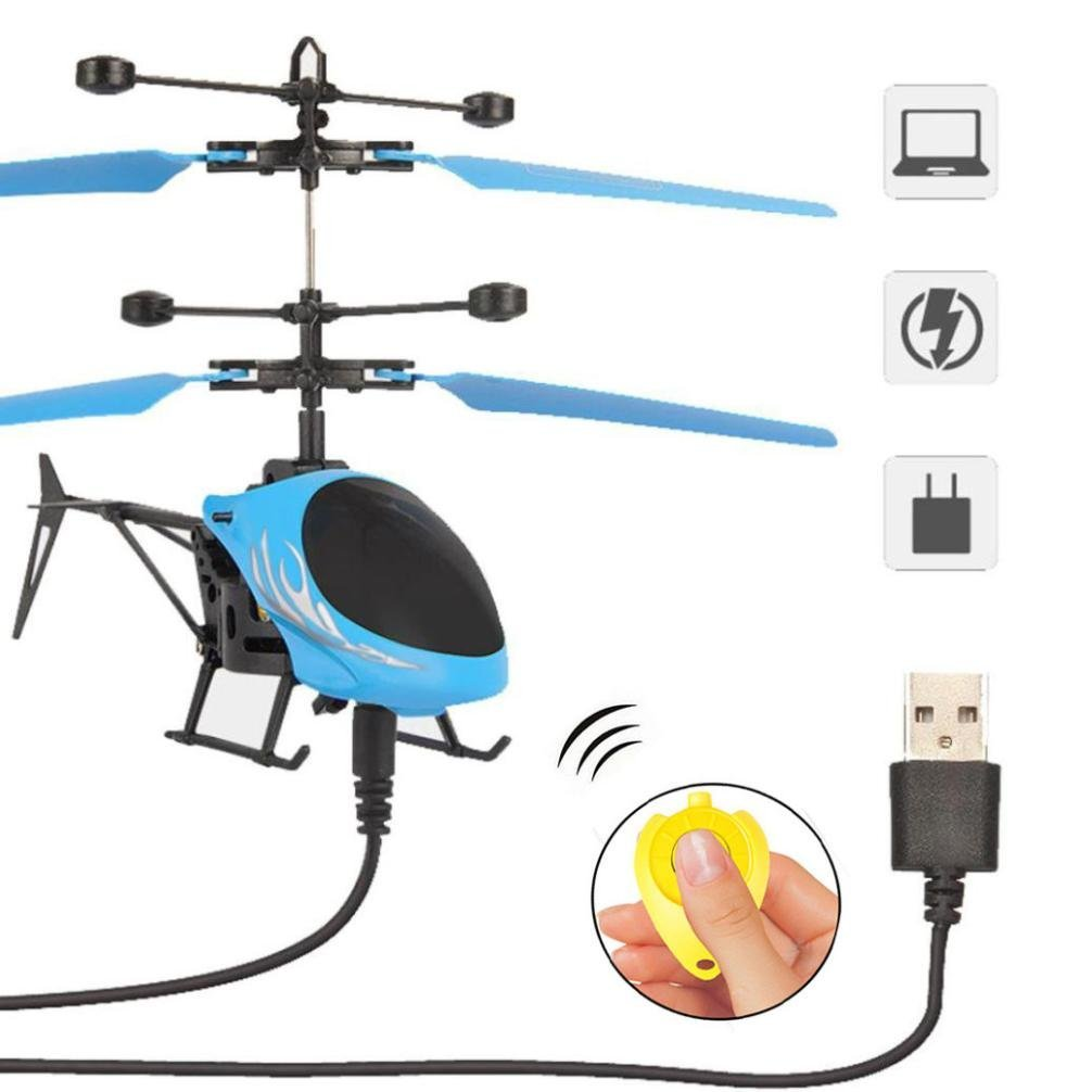 Remote Control Drone, COOL99 Flying Mini RC Infraed Induction Helicopter Aircraft Flashing Light Toys For Kid (A, Blue)