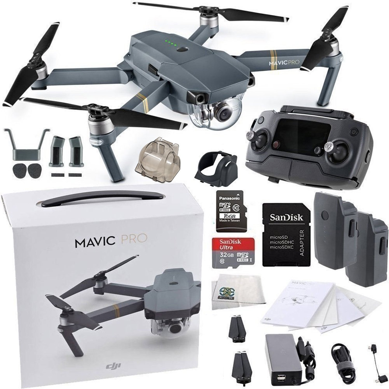 DJI Mavic Pro Collapsible Quadcopter Drone Essentials Bundle w/ Manufacturer's Accessories + Intelligent Flight Battery, SanDisk 32GB UHS-I Card, USB-C Cable, Cleaning Cloth