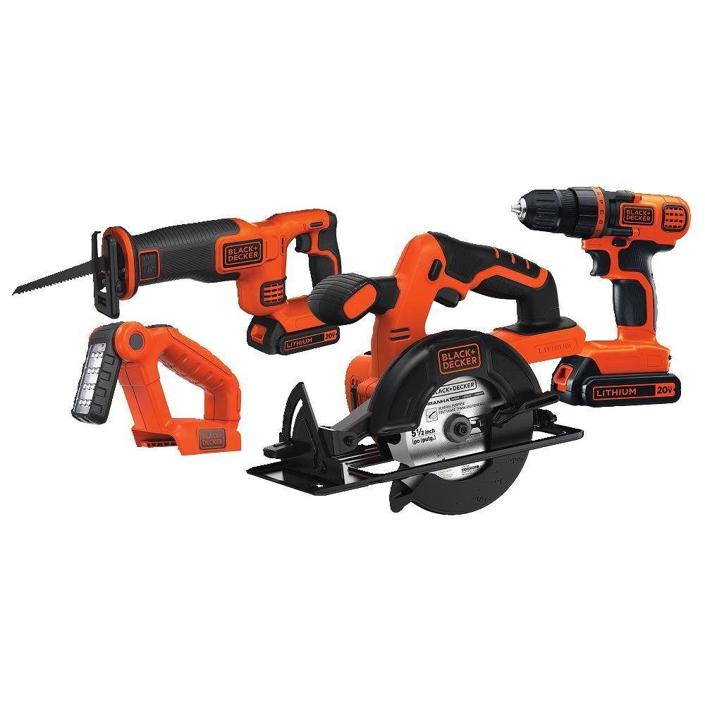 Black & Decker BD4KITCDCRL 20V MAX Drill/Driver Circular and Reciprocating Saw Worklight Combo Kit - - Amazon.com