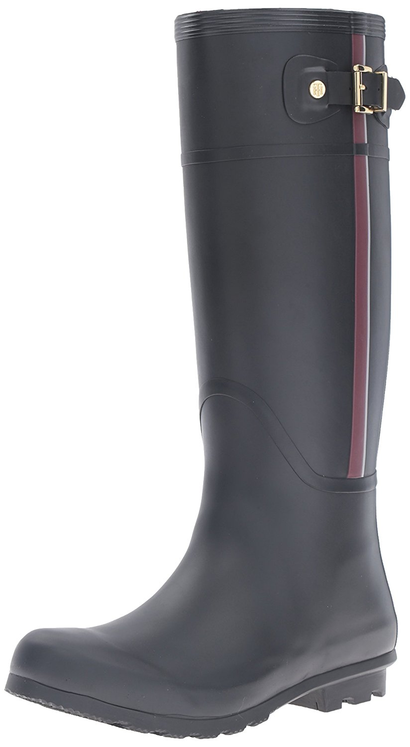 Amazon.com | Tommy Hilfiger Women's Malva Rain Boot, Black, 7 M US | Rain Footwear