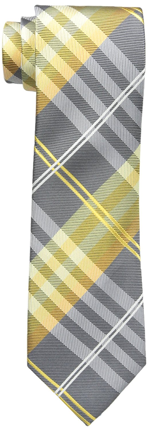 Geoffrey Beene Men's Petros Plaid II Tie, Yellow, One Size at Amazon Men's Clothing store