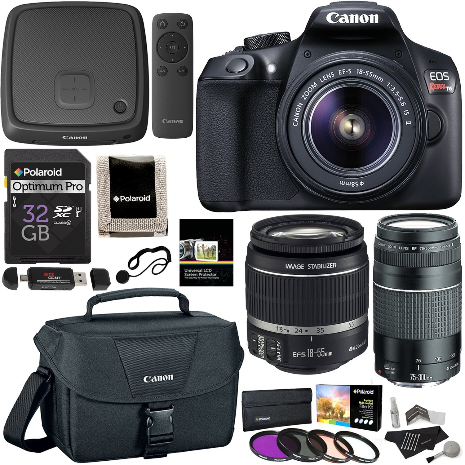 Canon EOS Rebel T6 Digital SLR Camera Kit with EF-S 18-55mm f/3.5-5.6 IS II Lens, Canon EF 75-300mm f/4-5.6 III Telephoto Zoom Lens, Canon Connect Station CS100, 32GB Memory, Filters Accessory Bundle