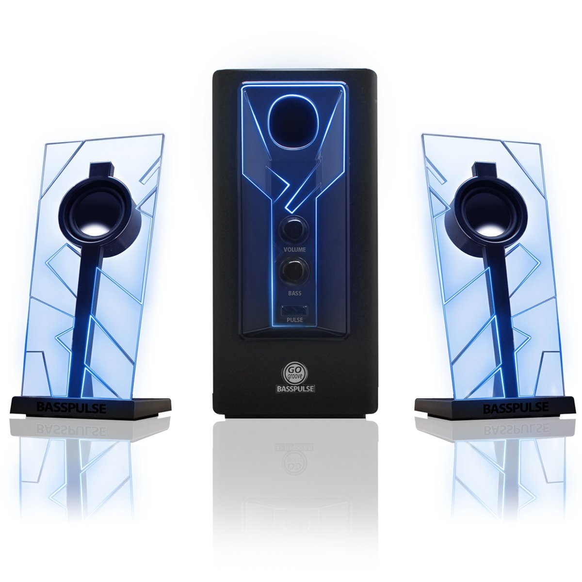 GOgroove BassPULSE 2.1 Computer Speakers with Blue LED Glow Lights and Powered Subwoofer - Gaming Speaker System for Music on Desktop , Laptop , PC with 40 Watts , Heavy Bass