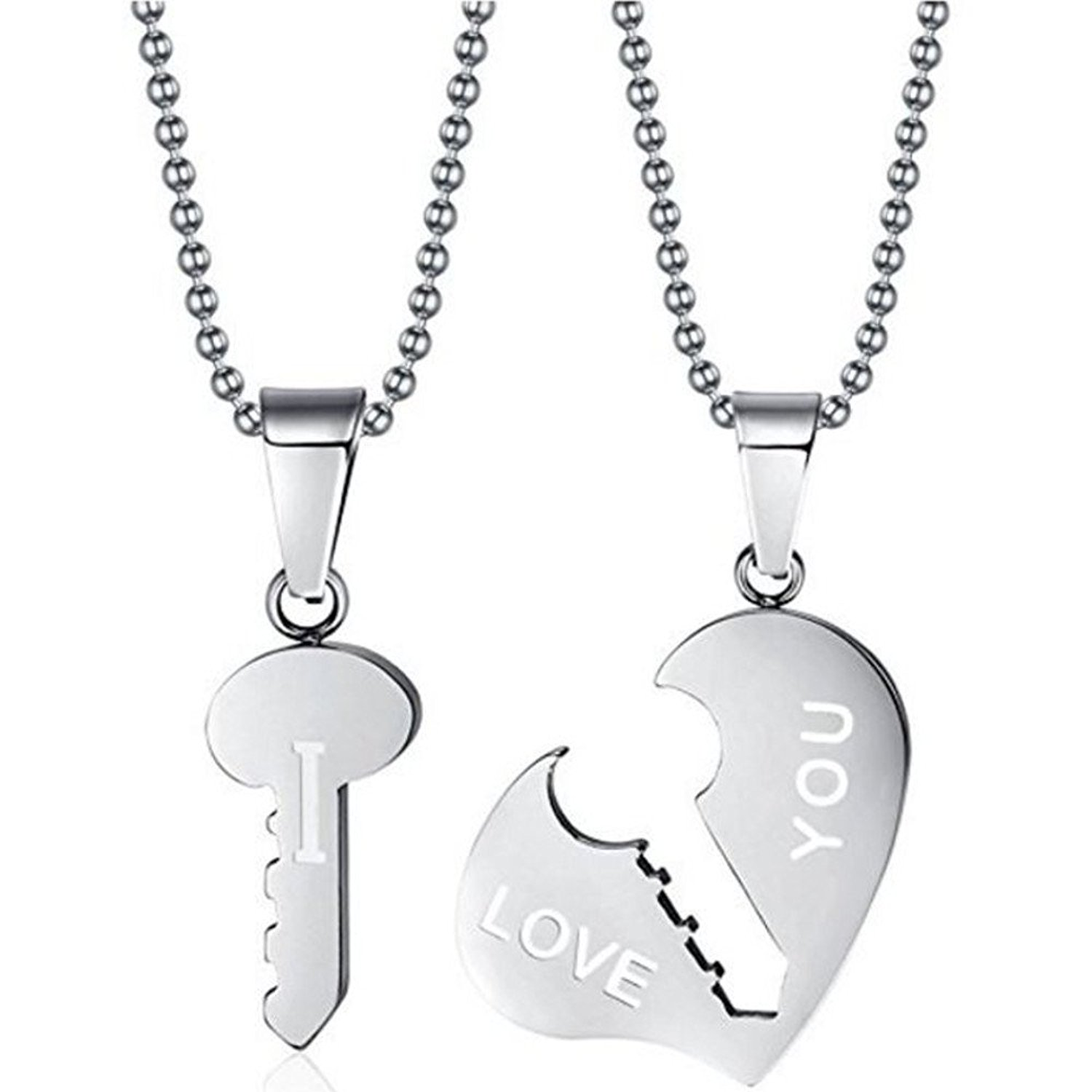 Epic Brand Couples Necklace Stainless Steel Heart and Key I Love You Pendants 20 inch Chain (2 piece set)